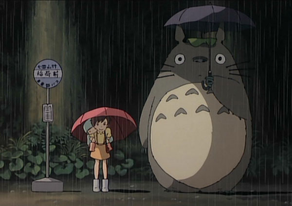 Totoro stuck in the rain with Satsuki and Mei